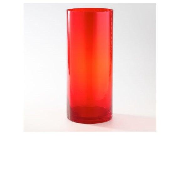 """14"""" Red Transparent Cylinder Glass Vase Tabletop Decor - N/A"""