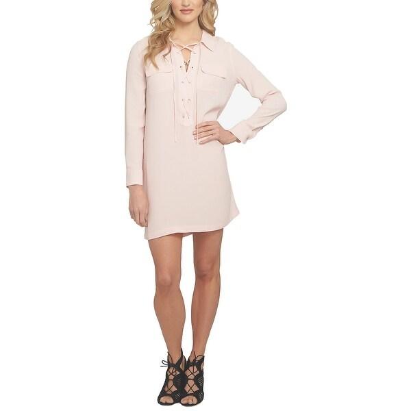 1.STATE Lace Up Shirtdress Pink Taffeta