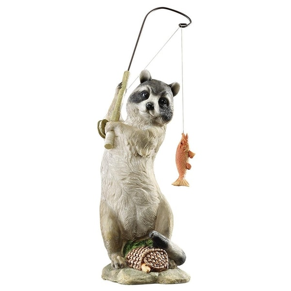 Design Toscano The Masked Fisherman Raccoon Statue