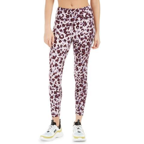 Calvin Klein Women's Leopard Print High-Waist Leggings Purple Size Medium