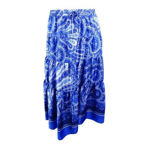 Lauren by Ralph Lauren Women's Printed Drawstring Maxi Skirt - Blue