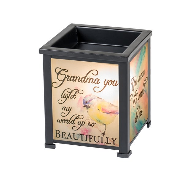 "5"" Black and Orange ""Grandma Light My World with Joy"" Printed Glass Warmer - N/A"