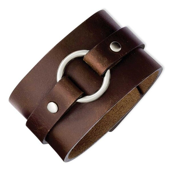Stainless Steel Brown Leather 8.75in Bracelet