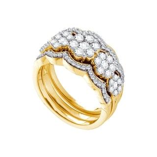 1 1/2Ct Diamond Flower Bridal Set Yellow-Gold 14K
