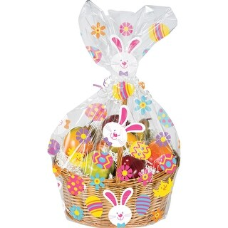 """Club Pack of 12 Brown and Pink Easter Party Decorative Gift Basket Bags 11"""""""