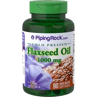 Piping Rock Flaxseed Oil Cold Pressed 1000 mg 90 Quick Release Softgels Dietary Supplement - green - 90 caps