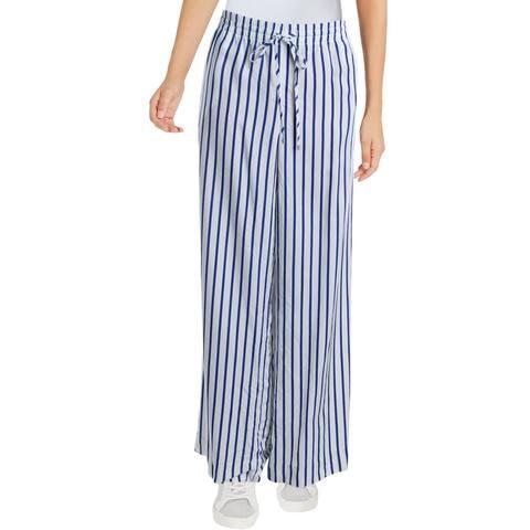 Lauren Ralph Lauren Womens Petites Pajama Bottoms Striped Drawstring - White - PL