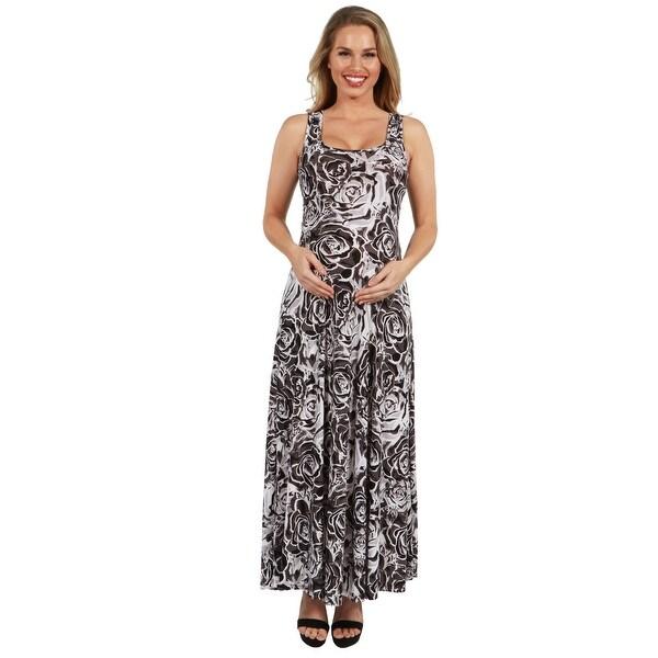 24Seven Comfort Apparel Grey Floral Maternity Maxi Dress