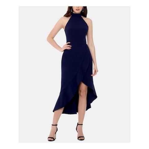 XSCAPE Womens Navy Sleeveless Tea-Length Hi-Lo Formal Dress Size 4