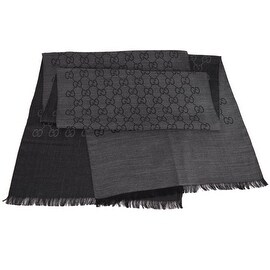 Gucci Women's 165904 Charcoal Grey Wool Silk GG Guccissima Scarf Muffler