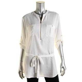 Calvin Klein Womens Zip Front Adjustable Sleeves Blouse - L