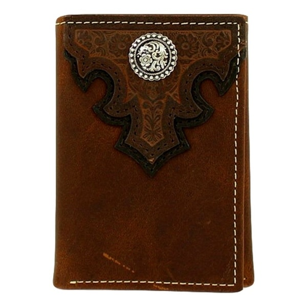 Ariat Western Wallet Men Leather Trifold ID Window Slot Brown - One size