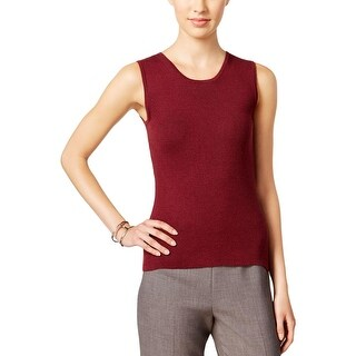 Tommy Hilfiger Womens Tank Top Sweater Ribbed Knit Crew Neck