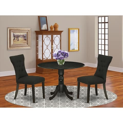 DLGA3-ABK-24 3-Pc Table Set Included a Table & 2 Parsons Dining Chairs, Black Linen Fabric Parson, Wirebrushed Black Finish