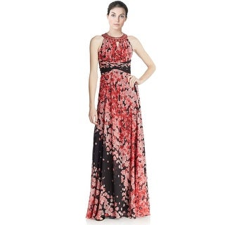 Teri Jon Floral Empire Maxi Evening Gown Dress - 16