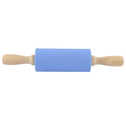 Kitchen Silicone Roller Wooden Handle Dumpling Making Non-stick Rolling Pin Blue