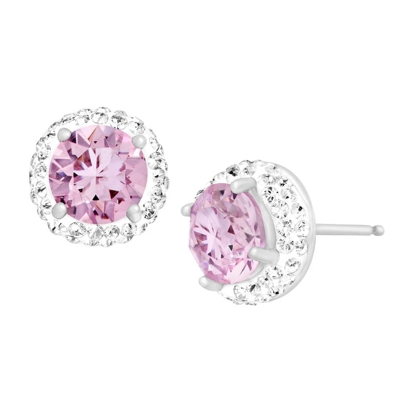 Crystaluxe June Earrings with Light Purple Swarovski elements Crystals in Sterling Silver