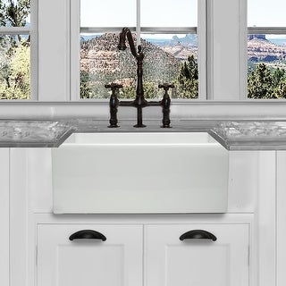 Highpoint Collection 24 Inch Single Bowl Reversible Fireclay Farmhouse Kitchen Sink Overstock 9828534