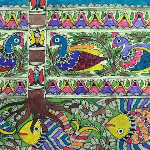 Handmade One With Nature Ii Madhubani Painting (India)