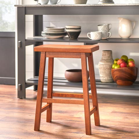 Simple Living Arizona 24-inch Solid Wood Counter Height Saddle Stool