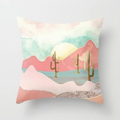"""AIRI 18"""" x 18"""" Peach Skin Velvet Dreamy Design Decor Throw Pillowcover"""