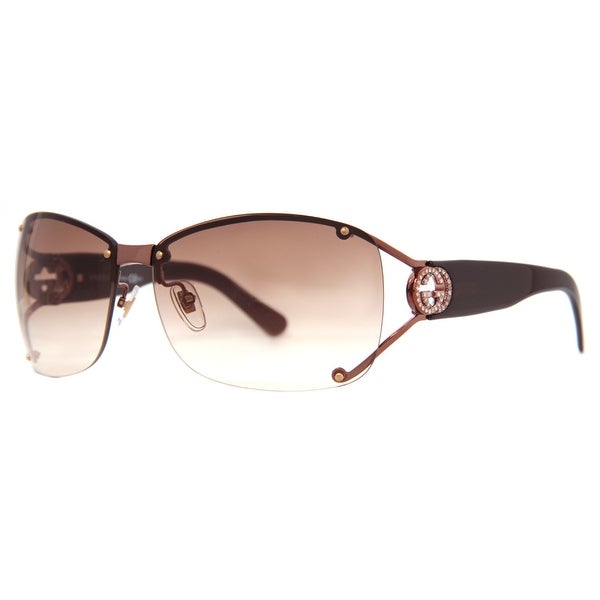 GUCCI Oval GG 2820/F/S Women's VTC 5E Shiny Brown Brown Gradient Sunglasses - 62mm-12mm-120mm