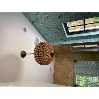 Swere 3-light 16-inch Wood Bead Globe Chandelier