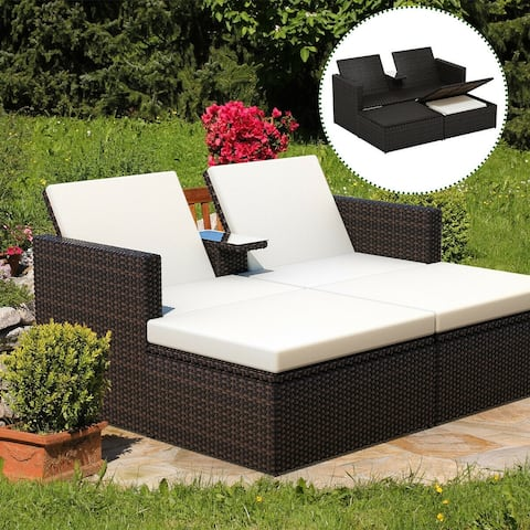 Gymax Outdoor 3 Piece Chaise Lounge Chair Set Rattan Wicker Patio Love