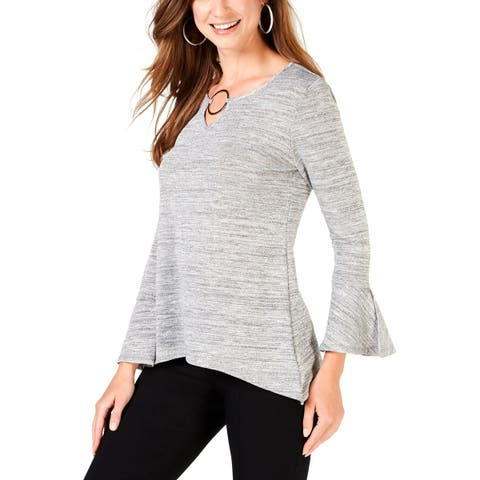 NY Collection Womens Petites Pullover Top Keyhole Bell Sleeve