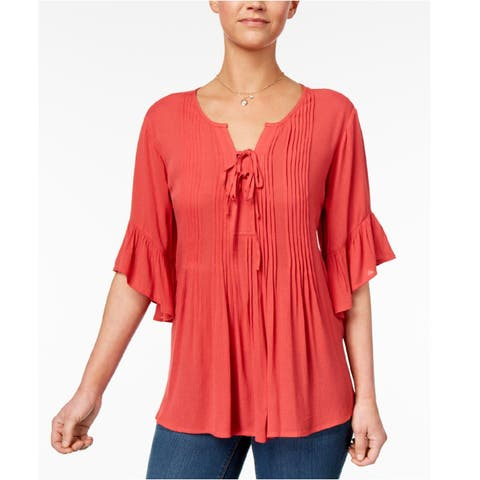 Style & Co Women's Ruffled Lace Up Top Dark Rose Size Extra Large - Red - X-Large