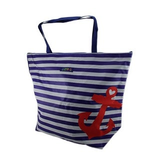 Ahoy Matey Striped Nautical Anchor Oversize Canvas Beach Tote