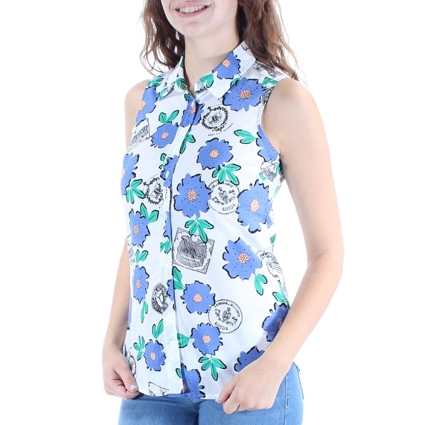 5d7a7e9c Shop MAISON JULES Womens White Floral Sleeveless Collared Button Up Top  Size: 2XS - On Sale - Free Shipping On Orders Over $45 - Overstock -  21305251