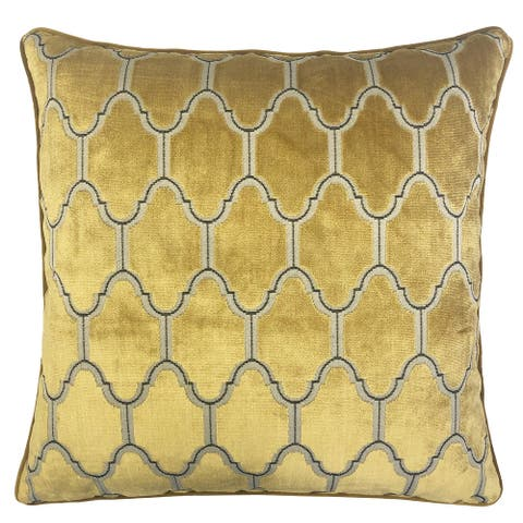 Rodeo Home Alaya Luxury Cut Velvet Square Throw Pillow