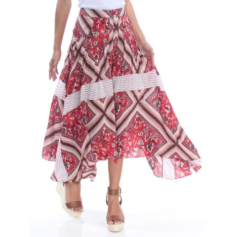 FREE PEOPLE Womens Red Midi Skirt Size: 2