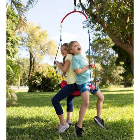HearthSong 64-in. x 24-in. 2-in-1 BungeeBounce Swing with Hanging Rings - One-Size