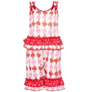 Laure Dare Little Girls Pink Red Heart Print Ruffle 2 Pc Pajama Set