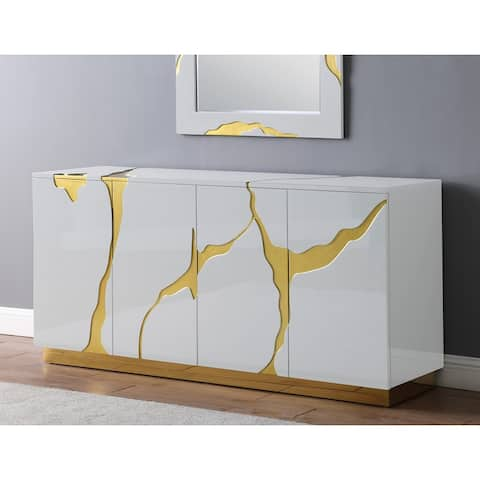 Best Master Furniture 66-Inch Lacquer 4-Door Sideboard