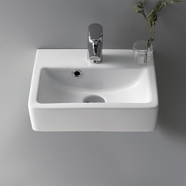 "Nameeks 001400-U Mini 14-3/4"" Ceramic Wall Mounted/Vessel Bathroom Sink with Hole Drilled - White / One Hole"