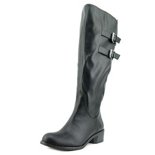 Style & Co Masen Women Round Toe Leather Black Mid Calf Boot