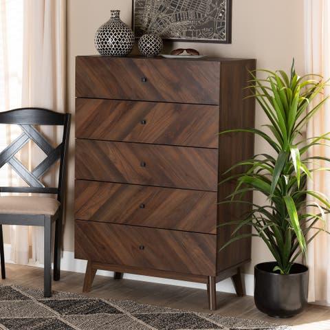 Hartman Mid-Century Modern Walnut Finished Wood 5-Drawer Storage Chest