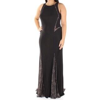 Womens Black Sleeveless Full Length Sheath Evening Dress Size: 14