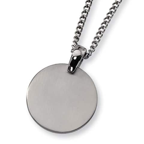 Chisel Brushed Titanium Circle (35mm) Pendant on 22 Inch Steel Curb Chain (2 mm) - 22 in