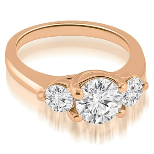 1.25 cttw. 14K Rose Gold Low Set Trellis 3-Stone Round Diamond Engagement Ring