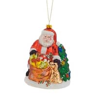 Pack of 6 Santa Claus Petting Dog With Gift Sack and Tree Glass Christmas Ornament - Green