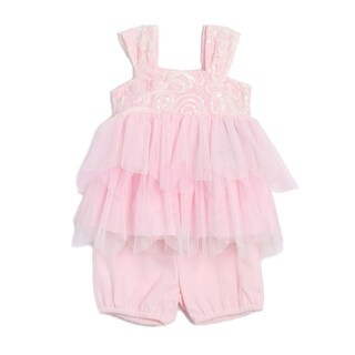 Isobella & Chloe Baby Girls Pink Sequin Lace Tulle Knit 2 Pc Set