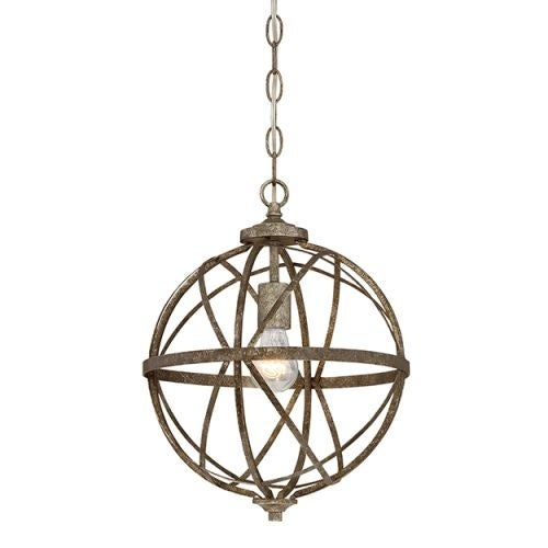 "Millennium Lighting 2281 Lakewood Single Light 12"" Wide Foyer Pendant with Cage Frame"