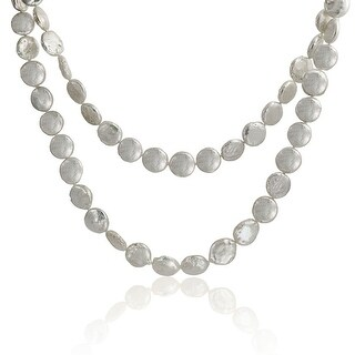 Bling Jewelry White Freshwater Cultured Coin Pearl Long Strand Necklace 42 Inches