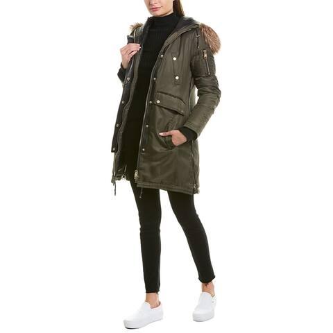 Series By Nicole Benisti Clara Leather-Trim Coat