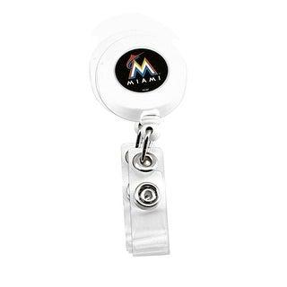 Miami Marlins Retractable Badge Reel Id Ticket Clip MLB White