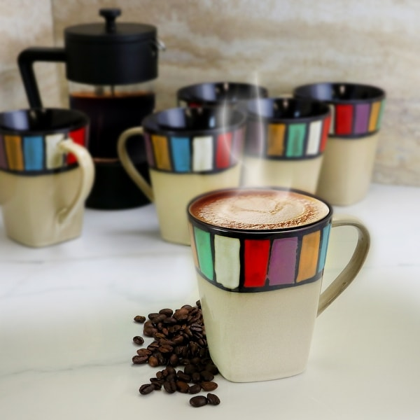 Elama Melange 6 Piece 14 Ounce Multicolored Stoneware Mugs. Opens flyout.